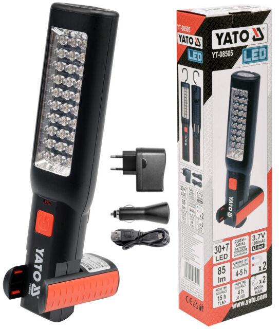 Akku Arbeitslampe Werkstattlampe Handlampe 30 + 7 LED mit 2 Magneten und Haken