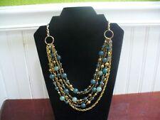 "Vintage 6 Strand Tiered Goldtone Metal Green Plastic Bead 20.5"" Necklace"