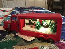 Retro Christmas LED Light Up Santa Claus in Red Truck Music Box Musical NWT