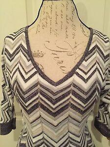 White-House-Black-Market-Herringbone-Sweater-3-4-Sleeve-White-Grey-Metallic-XS