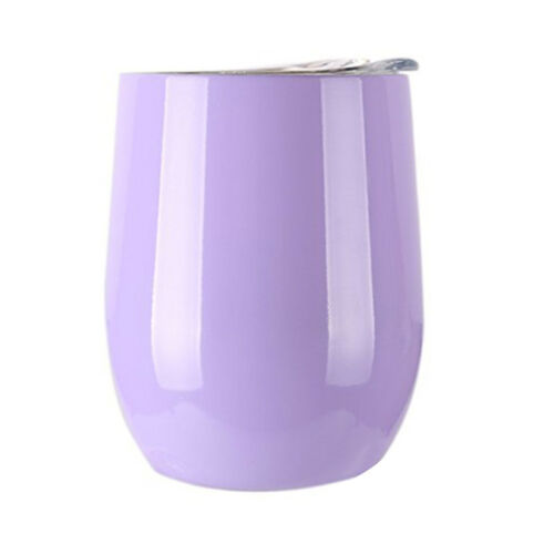 9oz Stainless Steel Wine Glass Beer Cup Tumbler Sippy Cup with LID Elegant GIFT