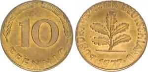 Frg 10 Pfennig 1977 F Lack Coinage: Fremder Blank Magnetic To Small Prfr St