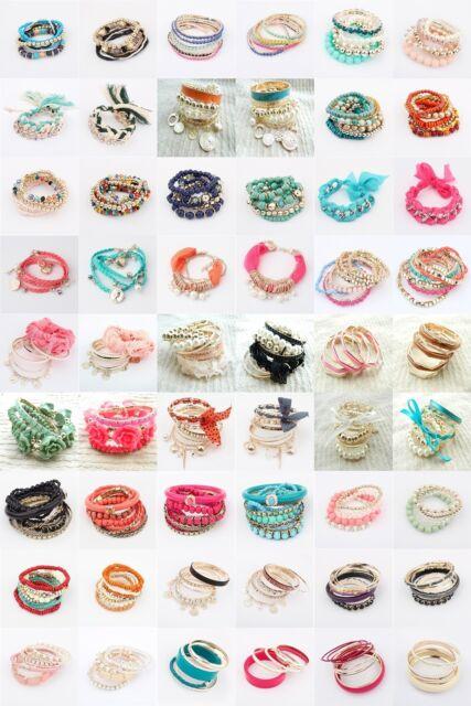 Wholesale Fashion Many Style To Choose Multilayer Lady Party Bracelet Bangle Set