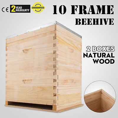 Langstroth Bee Hive 10 Frame 2 Deep 1 Medium Box Reliable Complete Kit Wood