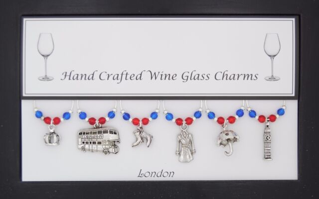 Something Blue Wine Glass Charm with Gift Card by Libbys Market Place From UK Seller