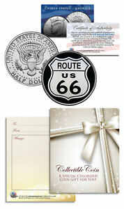 ROUTE-66-Legendary-Highway-JFK-Kennedy-Half-Dollar-U-S-Colorized-Coin