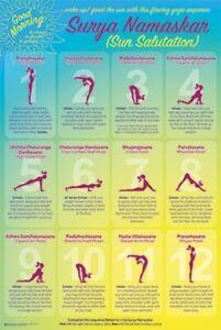 yoga sun salutation poses reference chart poster 24x36