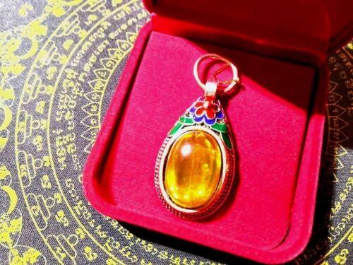 Naga Eye Amber Gemstone Crystal Thai Amulet Powerful Lucky Silver Cased Charming