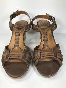 Clarks-Strappy-Sandals-Brown-Cork-Wedge-Heels-Women-039-s-Size-6-M