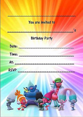 40 Personalised Birthday  invitations Trolls 10 20,30