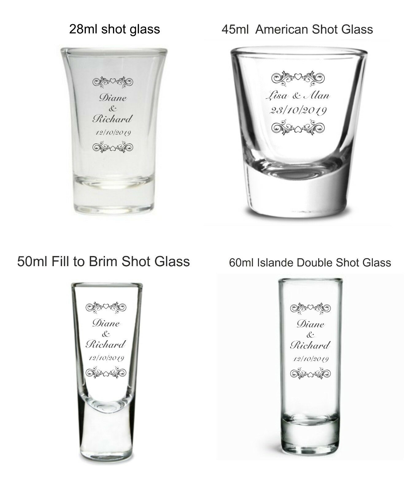Personalised Engraved scroll Shot Glass Wedding favours guests ...
