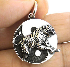 Japanese tiger 4 guardian coin solid sterling 925 silver pendant image is loading japanese tiger 4 guardian coin solid sterling 925 aloadofball Gallery