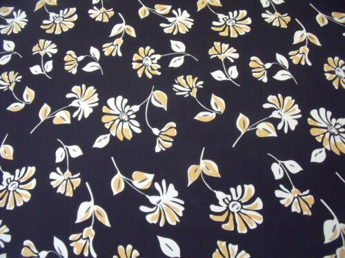 FINE RIB CHIFFON FLORAL PRINT-BLACK//PEACH//ECRU DRESS FABRIC-1.0 METRE