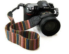 Retro Rainbow Color Stripes Neck Shoulder Soft Strap For SLR DSLR Camera