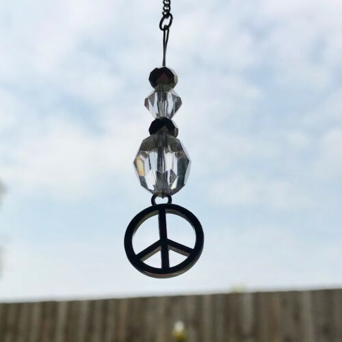 New Hanging Car Charm ~ Sun Catcher Peace Symbol Mobile Hippie Chic ~ Gift Idea