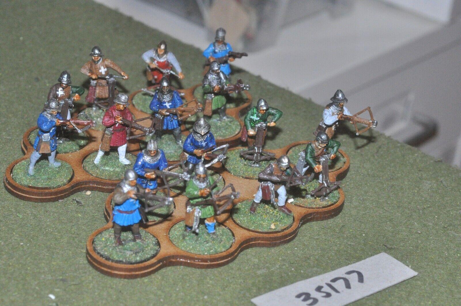25mm medieval   swiss - crossbowmen (plastic) glued in 16 figures - inf (35177)