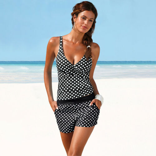 Women Padded Bikini Tankini Sporty Boy Shorts Set Swimwear Swimsuit Bathing Suit