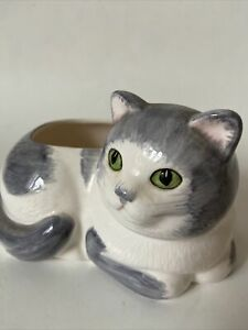 Vintage-Ceramic-White-and-Gray-Cat-Planter-with-Green-Eyes-Hand-Painted