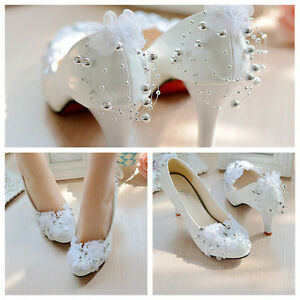 Pearl-White-Lace-Bling-Wedding-Bridal-Shoes-High-Heels-Flat-Platform-Party-All-S