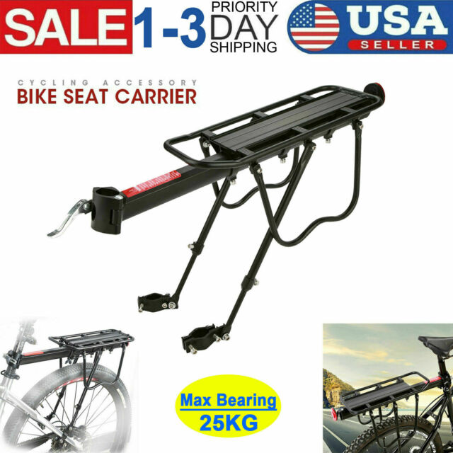 Fat Tire Bicycle Rear Rack Carrier Holder Adjustable Black Seat Luggage Cargo with Reflector Snow Mountain Bike Wide Tire 4.0 Accessories Shelf 50kg Capacity