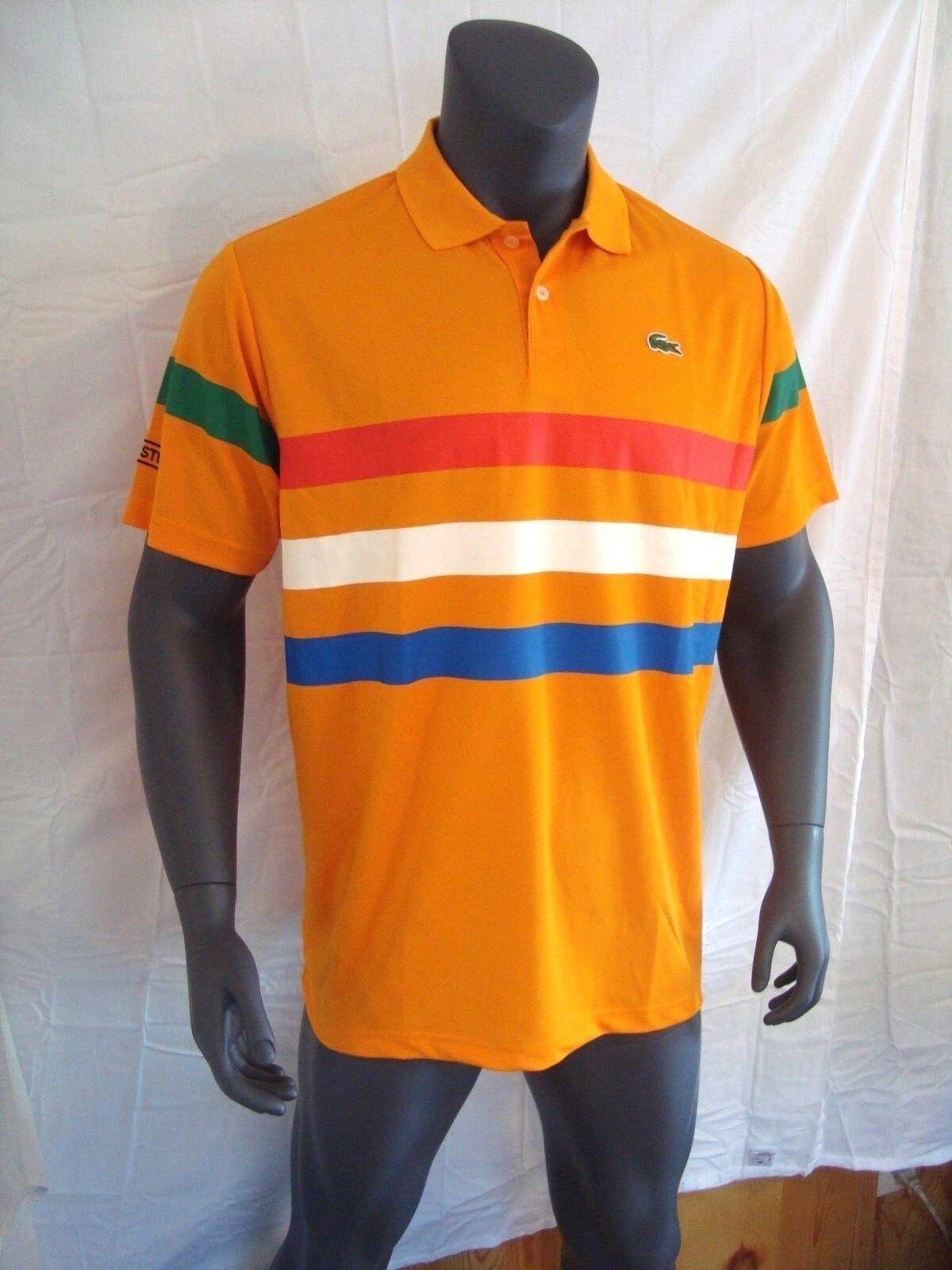 Lacoste SPORT orange w color Stripes Men's Polo Shirt NEW - XL - 2XL - 3XL - 4XL