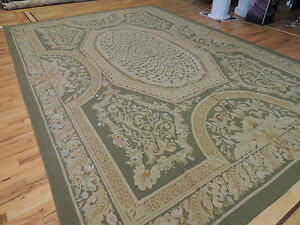 10x14 French Aubusson Style Area Rug Oriental Green Beige Wool Hand Knotted Ebay