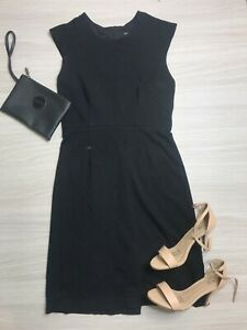 Serra Women's Black Knee Length Pencil Dress Size 8 Sleeveless Stretch Work