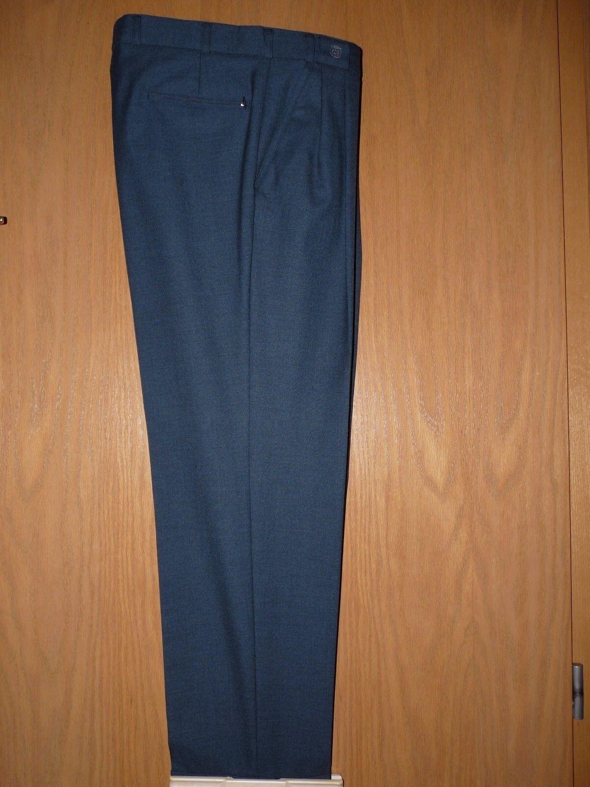 Herren Anzug Stoffhose Umschlag Hose Wolle Luxus Business Blau Vintage Gr. 50 L