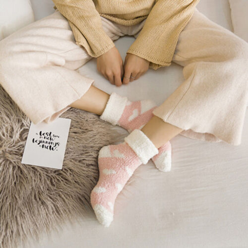 Women Bed Socks Love Heart Fluffy Warm Winter Gift Soft Floor Socks PB