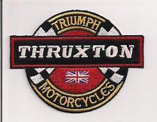 TRIUMPH MOTORCYCLES TRUXTON  ROUND PATCH WRITTEN IN WHITE ON BLACK