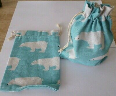Baumwoll Säckchen Blau Tasche Geschenke verpacken Motiv Eisbär 3 St Beutel
