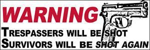 3x9-inch-WARNING-Trespassers-Will-Be-Shot-Survivors-Again-Bumper-Sticker-gun-i