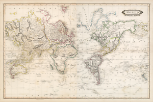 World Old 1841 Antique Map Mirrored (Extreme Definition PDF ... on