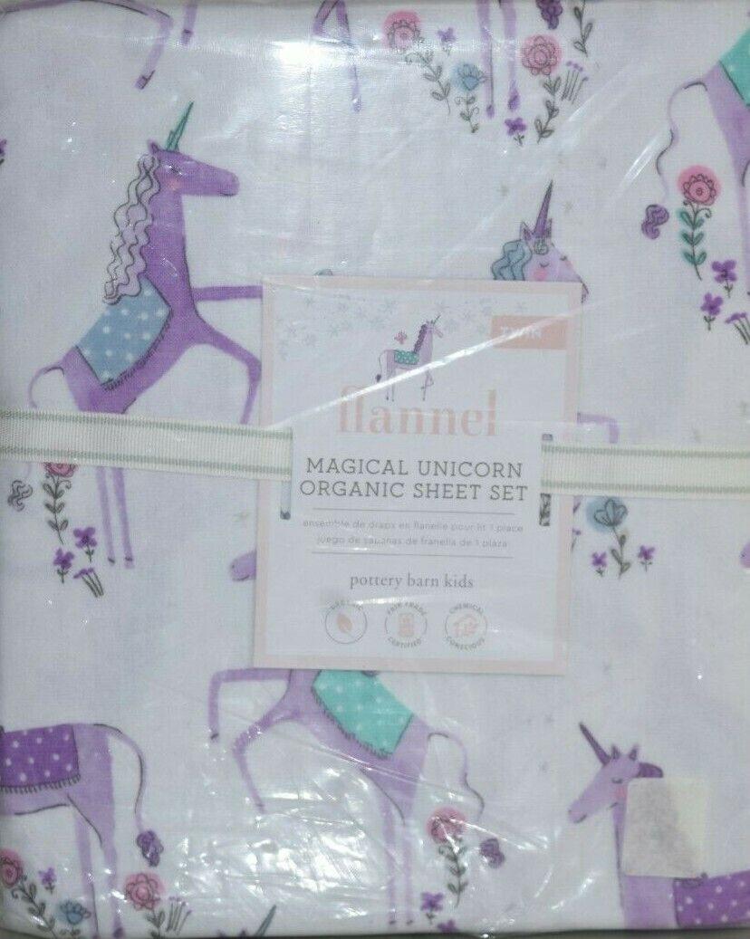 Nouveau POTTERY BARN Kids Flanelle magique Licorne Organique Feuille Set Pourpre Twin