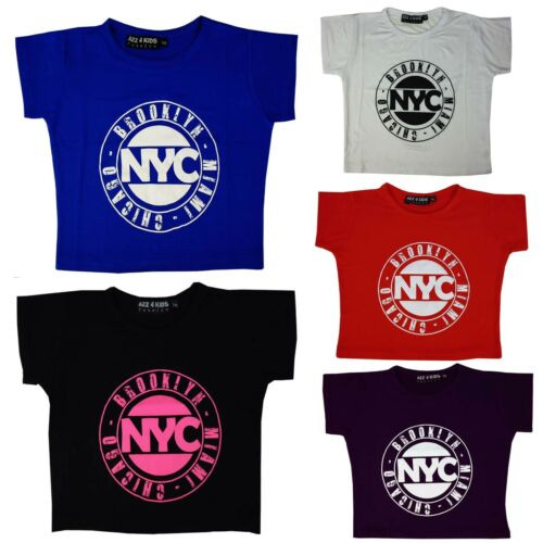 Kids Girls NYC Brooklyn Miami Chicago print crop top t shirt età 7-13 anni