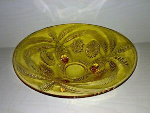 Glas-Schale-Glasschale-Bowl-Art-Deco-Helleres-Braun-Bernsteinfarben-Dia-23-cm