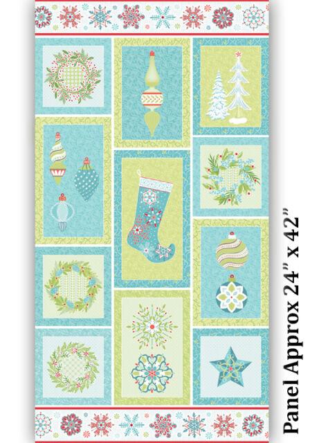By 1//2 Yard Amanda Murphy Sparkle ~ Vines in Green ~ Benartex Christmas Fabric