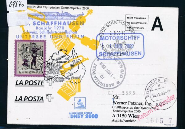 09640) Lauda Olympiades Pour Lp Vienne-sydney 15.9.2000, Ga Suisse Sp Ms Schaffh. Des Friandises AiméEs De Tous