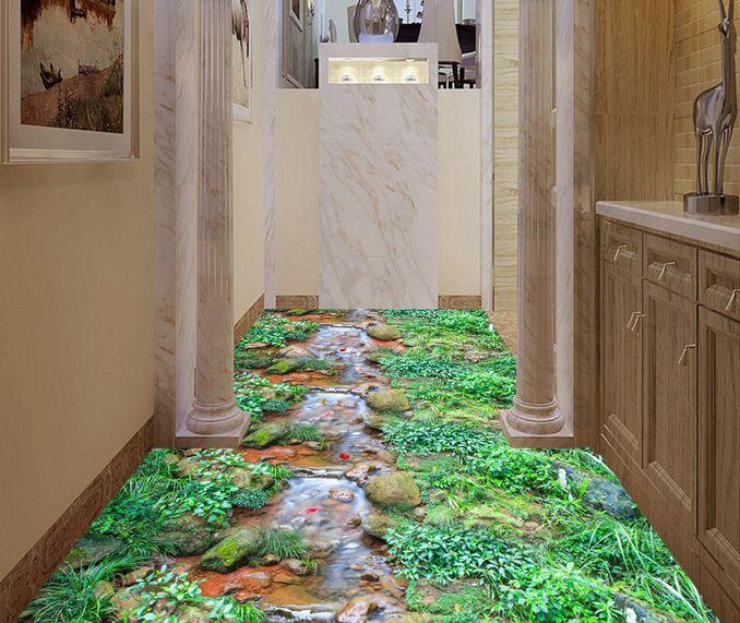 Corriente de 3D Piso Parojo de papel pintado mural malas hierbas piedras impresión Calcomanía 5D AJ Wallpaper