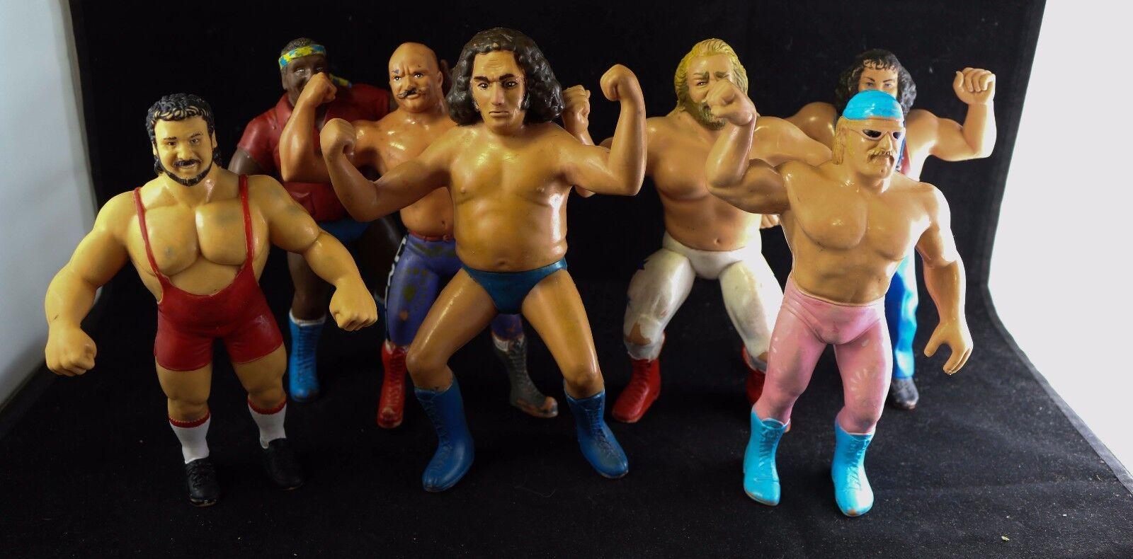 Lot of 7 Vtg 1980s Titan Sports LJN WWF Rubber Figures Ventura, Andre