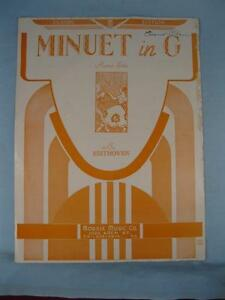 Details about Minuet In G Sheet Music Vintage 1924 Ludwig Van Beethoven  Piano Solo Morris (O)