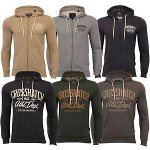 Mens-Sweatshirt-Crosshatch-Over-The-Head-Hoodie-Printed-Zip-Pullover-Top-Fleece
