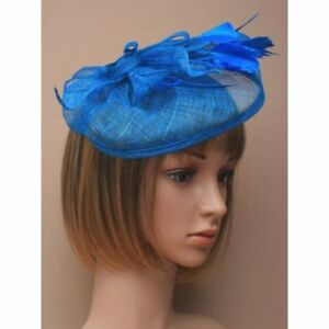 c2dba5d0af Image is loading Royal-Blue-Mesh-Feathers-Flower-Fascinator-Small-Hat-