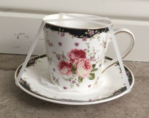 Grace/'s Teaware Black French Country Floral Tea Cup And Saucer Set