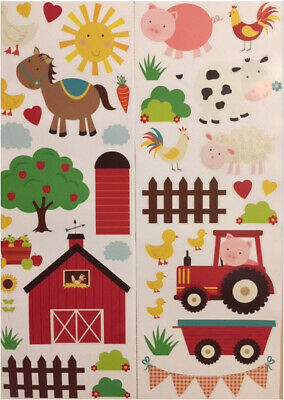 """10 Farm yard animal stickers tile transfers any flat surface 3/"""" CHICKEN PIGS COW"""