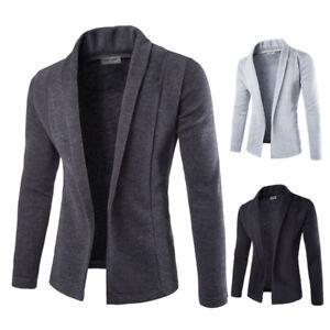 Mens-Solid-Blazer-Cardigan-Long-Sleeve-Casual-Slim-Fit-Sweater-Jacket-Knit-Coat