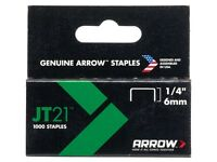"Arrow JT21 6mm 1/4"" Staples Box1000 ARRJT2114S"