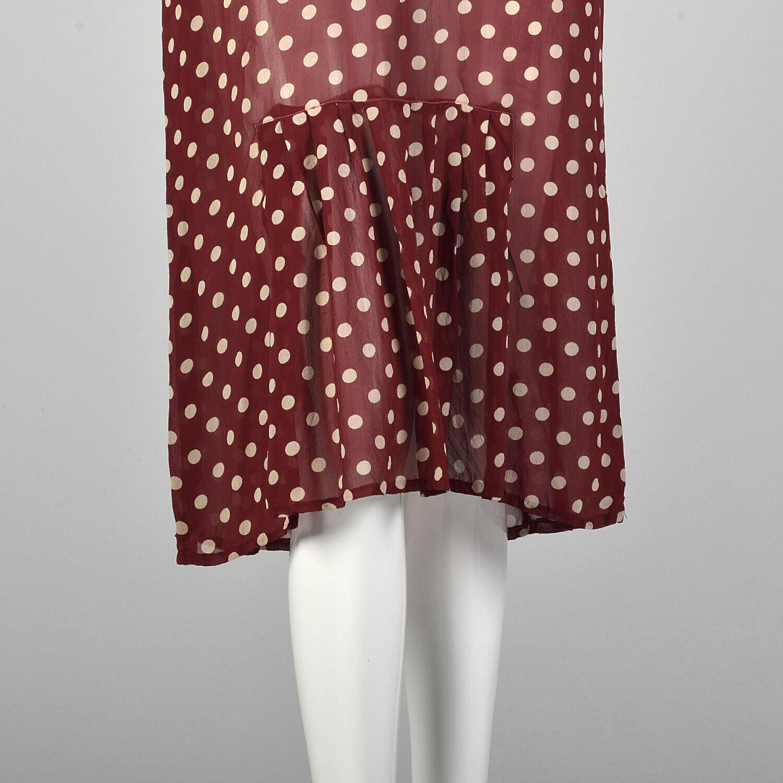 XXS 1930s Red Dress White Polka Dot Sheer Silk Ch… - image 8