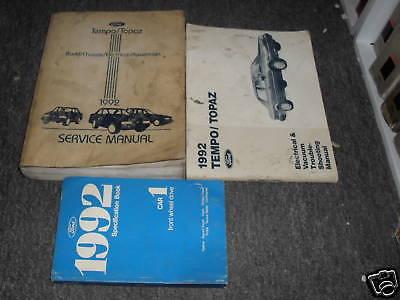 1989 Ford Tempo /& Mercury Topaz Service Repair Shop Workshop Manual Set OEM 89
