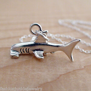 Hammerhead-Shark-Necklace-925-Sterling-Silver-Charm-Marine-Sharks-Ocean-NEW